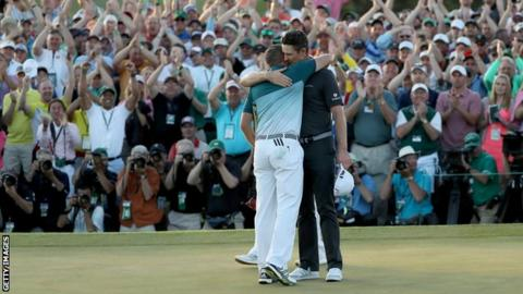 Justin Rose embraces Sergio Garcia after losing a play-off to the Spaniard at the 2017 Masters