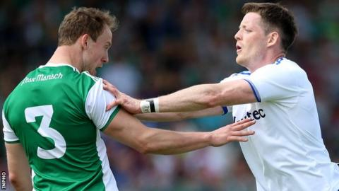 Fermanagh defender Aidan Breen clashes with Monaghan forward Conor McManus