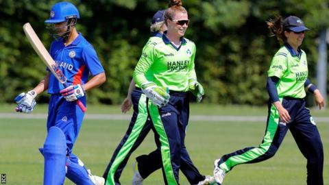 Ireland celebrate a Thailand wicket as they eased to victory in their opener in Utrecht on Saturday