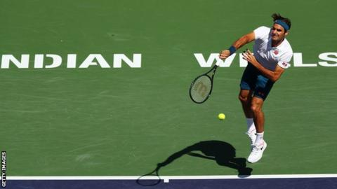 Roger Federer serves during quarter-final victory over Hubert Hurkacz at Indian Wells