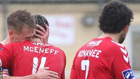 Derry celebrate Lukas Schubert's opening goal for Derry City