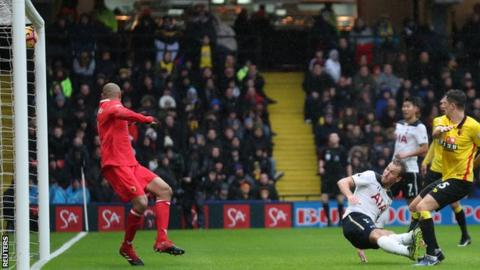 Harry Kane scores against Watford