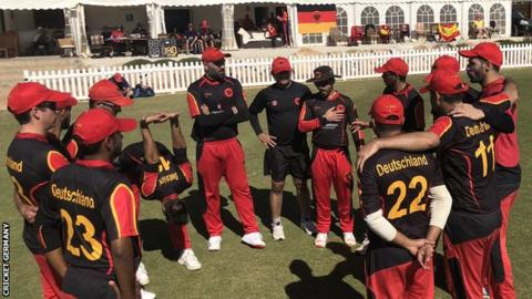 Germany players gather before a Twenty20 fixture against Spain