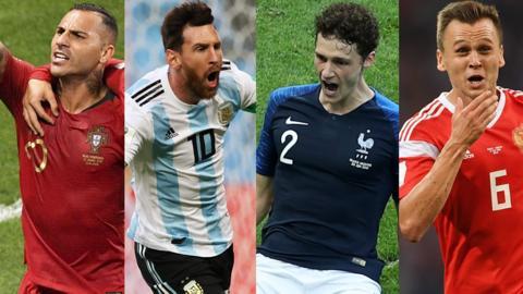 Ricardo Quaresma, Lionel Messi, Benjamin Pavard & Denis Cheryshev