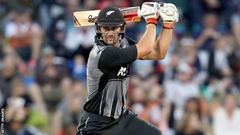 New Zealand batsman Tom Bruce hits a shot