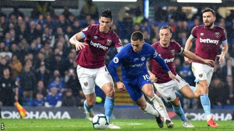 2198bfe68d237 Chelsea 2-0 West Ham United  Eden Hazard double sends Blues third ...