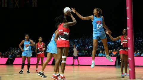 """Trinidad ^ Tobago""""s Samantha Wallace (left) and Fiji""""s Adi Vakaoca Bolakoro (right) battle for the ball during the Netball World Cup match at the M^S Bank Arena, Liverpool. PRESS ASSOCIATION Photo. Picture date: Sunday July 14, 2019. See PA story NETBALL World Cup. Photo credit should read: Nigel French/PA Wire"""