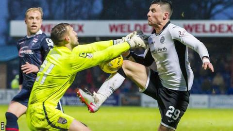 Ross County goalkeeper Martin Woods challenges St Johnstone's Michael O'Halloran