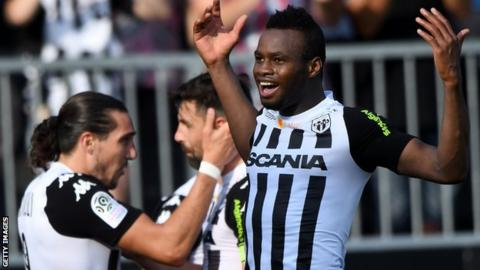 Lassana Coulibaly celebrates a goal for Angers