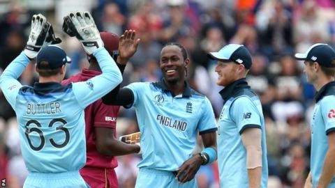 England celebrate during their win over the West Indies