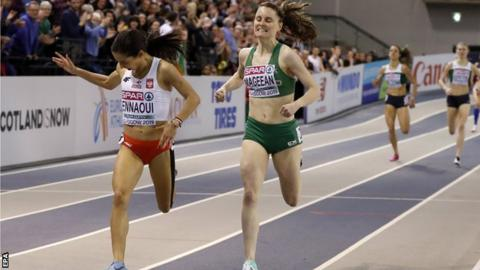 Poland's Sofia Ennaoui comes in just in front of Ciara Mageean in the Glasgow final