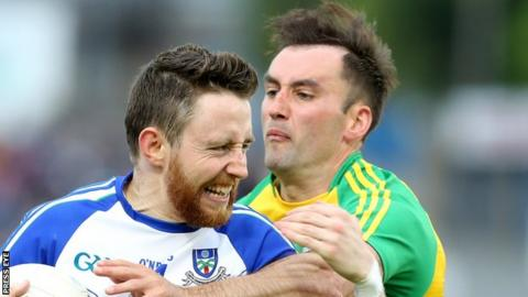 Donegal's Karl Lacey attempts to halt Monaghan's Owen Duffy