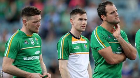 Monaghan pair Conor McManus and Karl O'Connell and Donegal's Michael Murphy show their disappointment after Ireland's series defeat in 2017