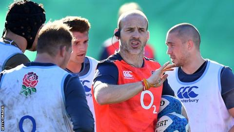 Paul Gustard during an England coaching session