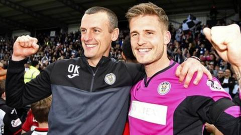 Kearney (left) kept St Mirren in the Scottish Premiership via the play-off