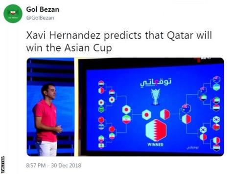 Tweet by Gol Bezan, saying: Xavi Hernandez predicts that Qatar will win the Asian Cup
