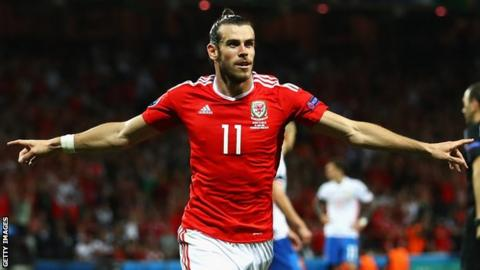 Gareth Bale celebrates after scoring against Russia at Euro 2016