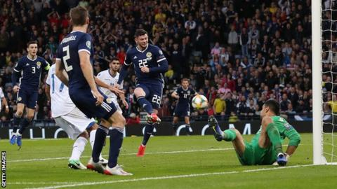 Oliver Burke's 89th-minute strike was his first goal for Scotland
