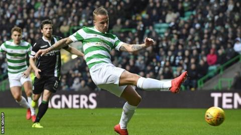 Celtic striker Leigh Griffiths knocks in the opening goal for the champions
