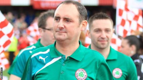 Paul Straney was goalkeeping coach when Cliftonville's won the title in 2014