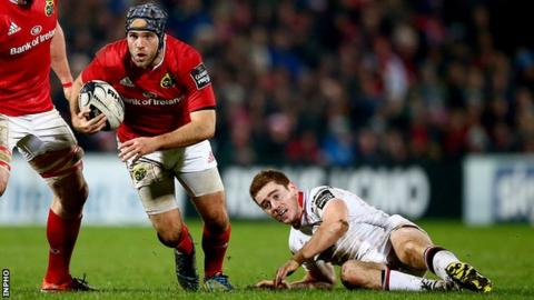Munster's Duncan Casey bursts past Paddy Jackson at Thomond Park last October