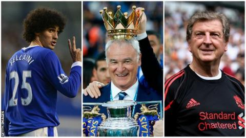 Marouane Fellaini, Claudio Ranieri and Roy Hodgson