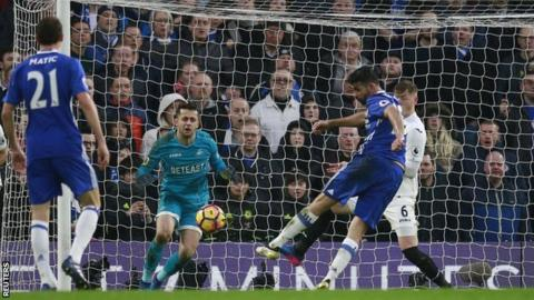 Diego Costa scores for Chelsea against Swansea