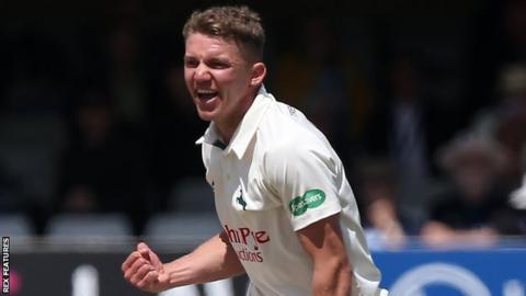 Matt Milnes takes a wicket for Nottinghamshire