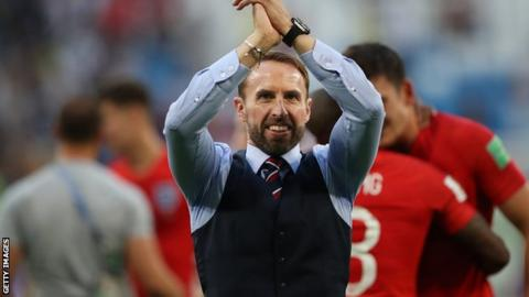 Gareth Southgate celebrates after leading England to the semi-finals of World Cup 2018