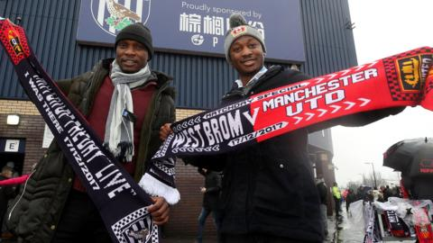 West Brom and Manchester United scarves