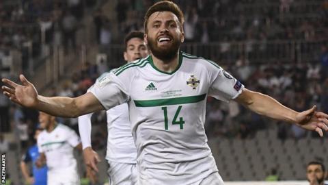 Stuart Dallas celebrates scoring his last-gasp goal against Azerbaijan