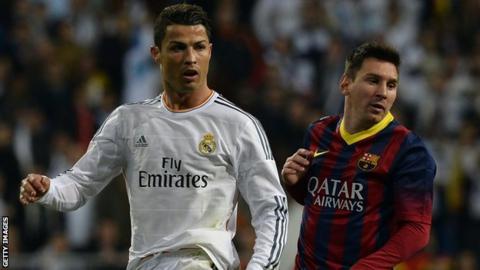 Cristiano Ronaldo (left) and Lionel Messi