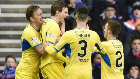 St Johnstone celebrate Blair Alston's goal