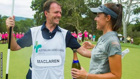 Meghan MacLaren with father and caddie David