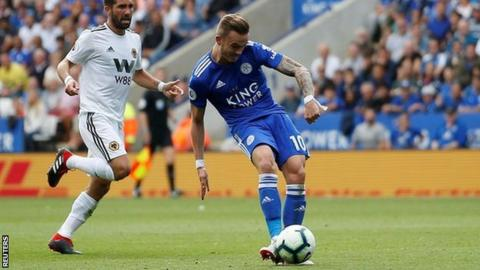 James Maddison scores for Leicester.