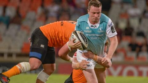 A tackles comes in on Connacht fly-half Jack Carty in the narrow defeat by Cheetahs on Saturday