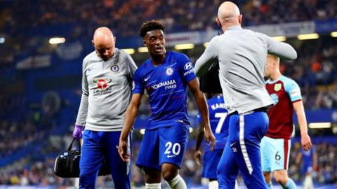 Callum Hudson-Odoi after being injured against Burnley in April