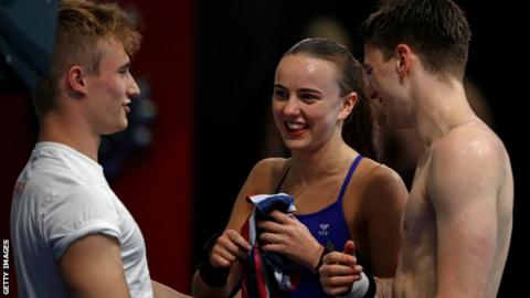 Jack Laugher, left, with now girlfriend Lois Toulson and Matthew Lee at the 2017 World Diving Championships in Budapest