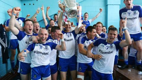 The Monaghan dressing room is a happy place after the Farney County defeat Donegal in the Ulster Senior Football final in July