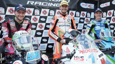 Supersport race top three - runner-up Adam McLean, winner Conor Cummins and Dean Harrison