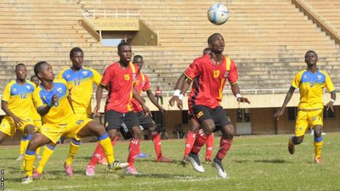 Uganda and Rwanda in action in their U20 Nations Cup qualifier