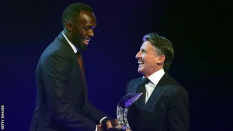Usain Bolt (left) and Lord Coe