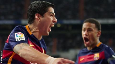Luis Suarez (left) helped Barcelona to a La Liga and Copa del Rey double last season