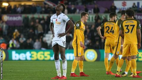 Swansea striker Tammy Abraham looks dejected after a fifth home loss in the Premier League