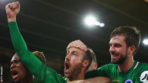 Glenn Murray celebrates his winner against West Ham