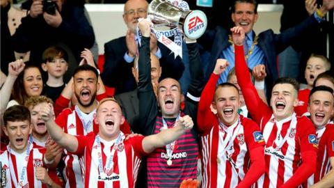Derry celebrate their EA Sports Cup triumph last year after beating Cobh Ramblers in the decider
