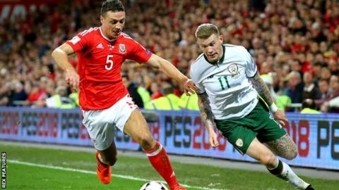 James Chester (left) will join Wales team-mates Joe Allen, Sam Vokes and Adam Davies at Stoke - and the Republic of Ireland's James McClean (right)