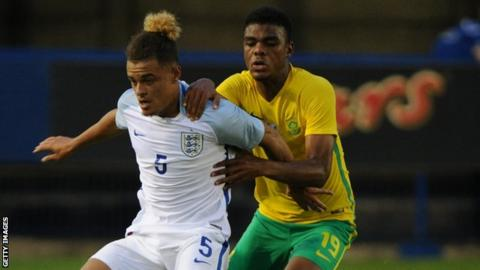 Lyle Foster of SA in action against England