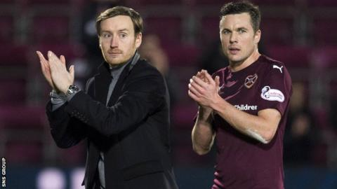 Hearts boss Ian Cathro with midfielder Don Cowie