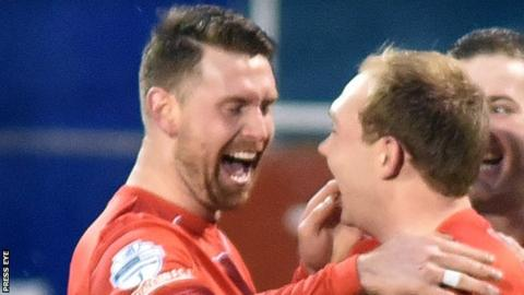 Garry Breen (left) was Portadown's late-goal hero at Carrick